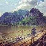 Our mechanic braves a bamboo bridge gr8ridegr8cause charity motorcycle adventurehellip