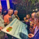 Rally Indochina riders sign the AU35000 cheque for Blue Dragonhellip